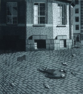 Kuolema iltapäivällä 1982, Akvatinta etsaus, 23,5 x26,5 cm